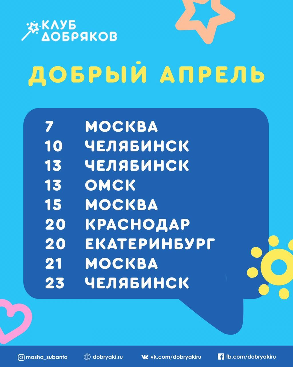Добряковские мероприятия в апреле