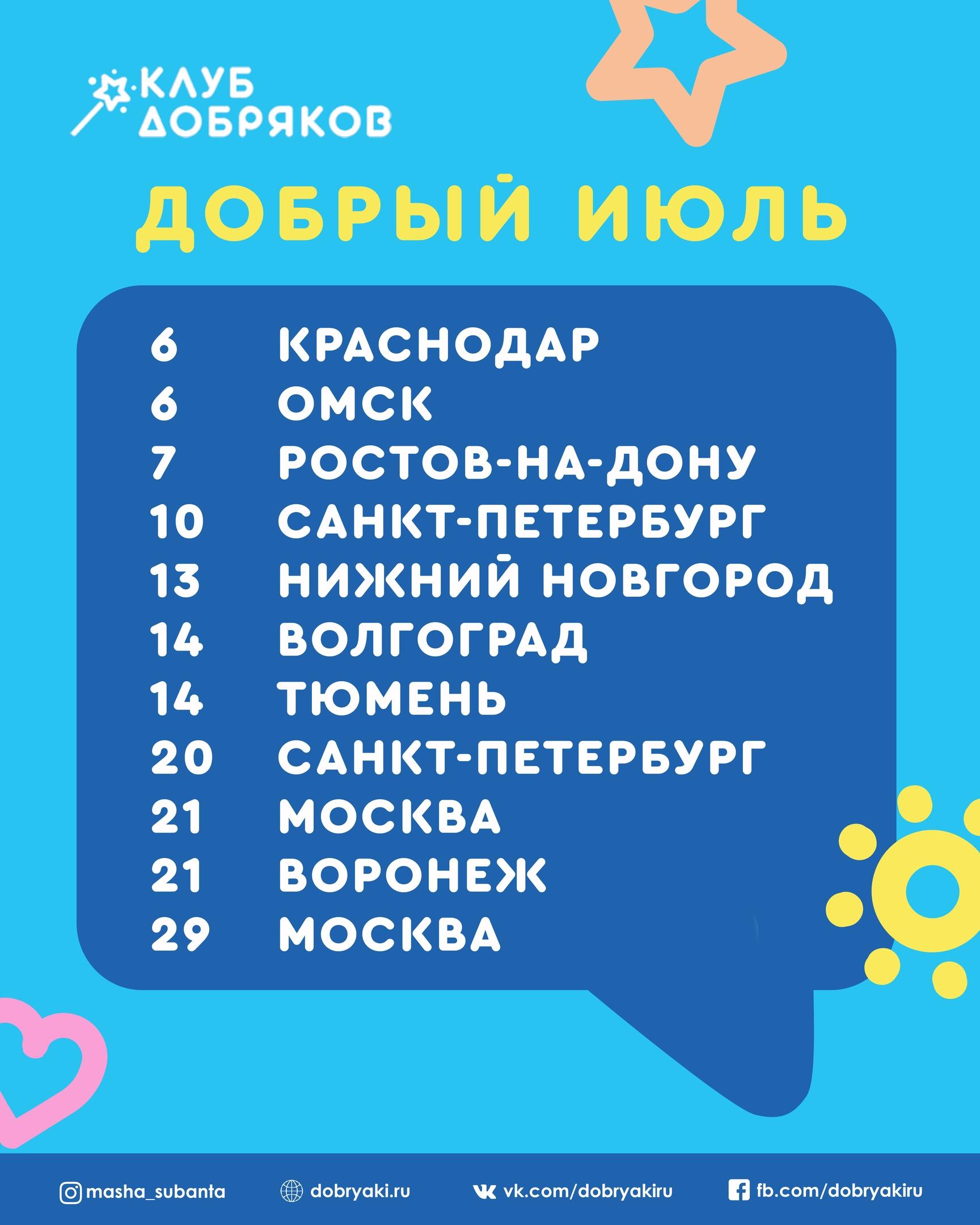 Добряковские мероприятия в июле