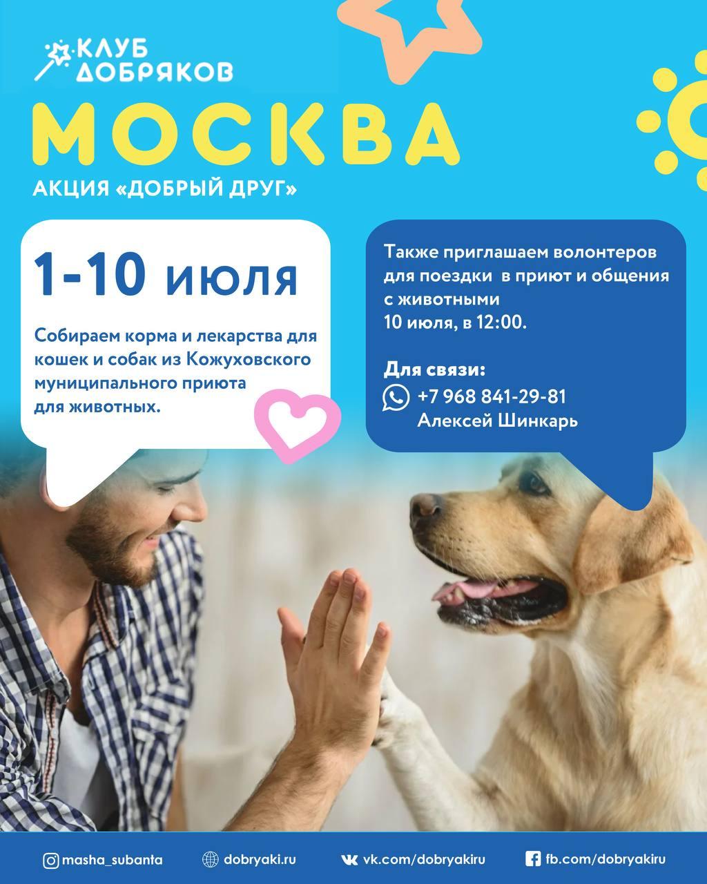 Добряки Москвы собирают корма и лекарства для животных из приюта